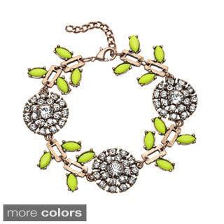 Mint Jules Crystal Flower and Colorful Leaf Adjustable Bracelet