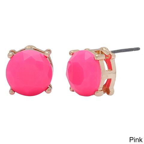 Mint Jules 18k Gold Plated Colorful Resin Dot Stud Earrings