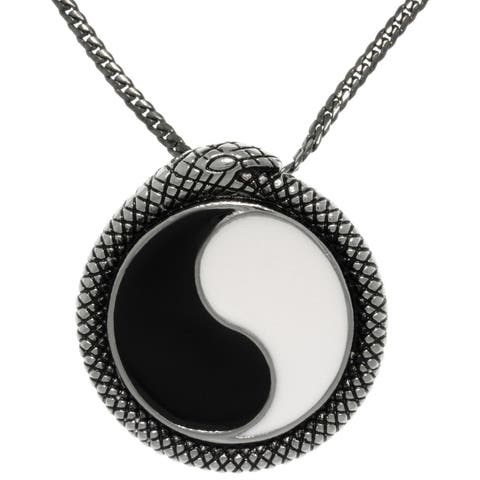 Carolina Glamour Collection Stainless Steel Yin Yang Pendant with Snake Wrap Border on Gunmetal Snake Chain Necklace