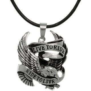 Carolina Glamour Collection Stainless Steel 'Live to Ride, Ride To Live' Eagle Biker Pendant on Leather Necklace