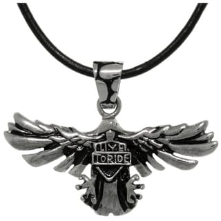 Carolina Glamour Collection Stainless Steel Eagle Live To Ride Shield Black Leather Pendant Necklace