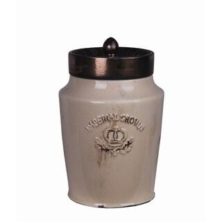Medium Cream and Gold Ceramic Jar with Lid
