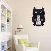 Adeco Black Plastic Owl Wall Collage Picture Frame with 4 Openings