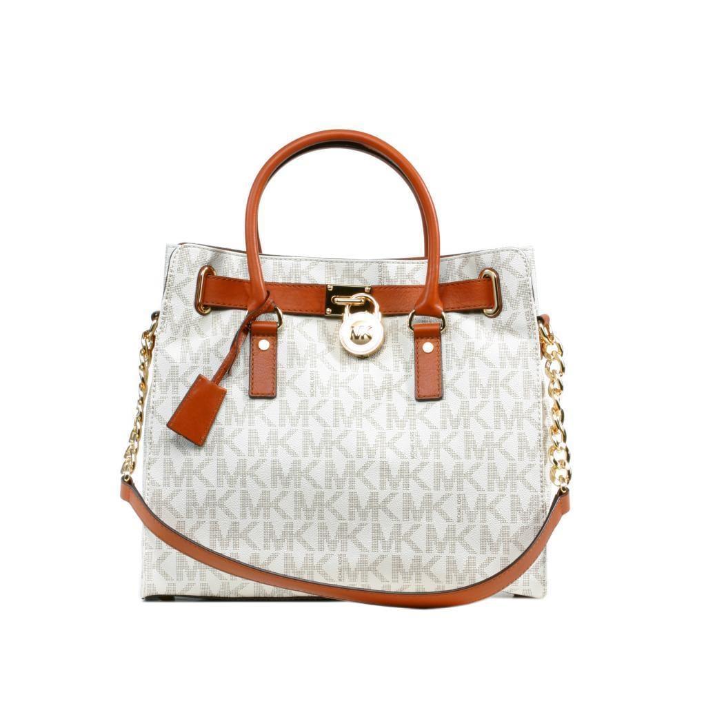 Michael Kors Hamilton Off White Logo Large Tote Handbag (...