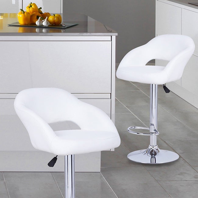 Adeco White Hydraulic Lift Adjustable Barstool with Low C...