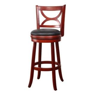 adeco walnutcolor wood barstyle curved cross back chair swivel base