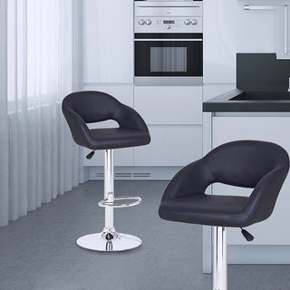 Adeco Black Hydraulic Lift Adjustable Barstool with Low Cut-out Back Chair, Leather-look, and Pedestal Base