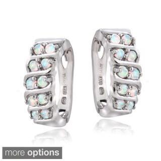 Glitzy Rocks Sterling Silver Created Opal S Design Hoop Earrings