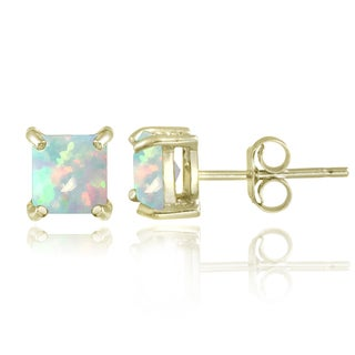 Glitzy Rocks 18k Gold Over Silver Created Opal Square Stud Earrings