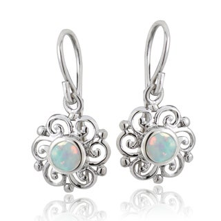 Glitzy Rocks Sterling Silver Created Opal Flower Earrings