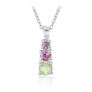 Glitzy Rocks Sterling Silver Created Opal and Pink Cubic Zirconia Journey Necklace