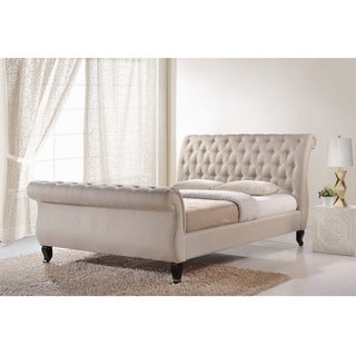 Abbyson living mulberry ivory linen sleigh upholstered bed for Abbyson living soho cream fabric chaise