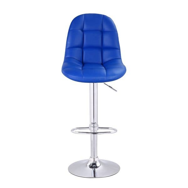 Shop Adeco Bright Blue Tufted Faux Leather Adjustable Chrome Base
