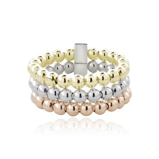Mondevio Sterling Silver Tri-color Beaded 3-band Ring