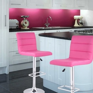 Adeco Horizontal Channel Tufted Faux Leather, Adjustable Chrome Base Barstools (Set of 2) (Option: Pink)