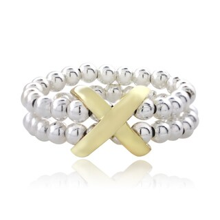Mondevio Sterling Silver Two-tone Beaded Band X Ring