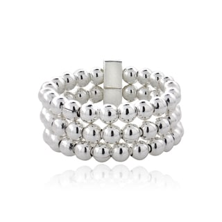 Mondevio Sterling Silver High Polish Beaded 3-band Ring