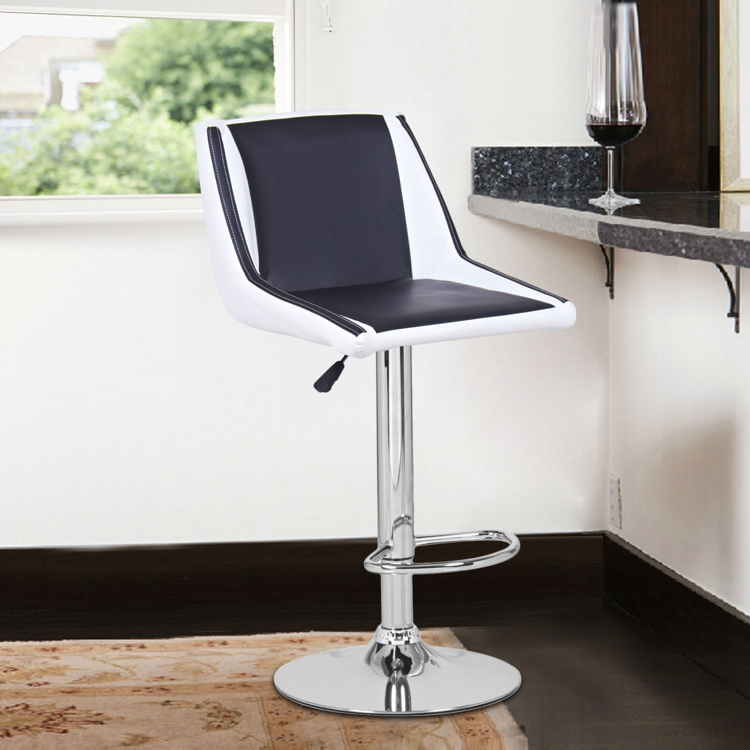 Adeco Black/White Hydraulic Lift Adjustable Barstool Chai...