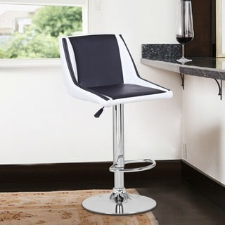 Adeco Black/White Hydraulic Lift Adjustable Barstool Chair, Leather-Look (Set of 2)