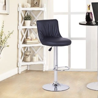 Black Puckered Leatherette Hydraulic Lift Adjustable Barstool Chair (Set of 2)