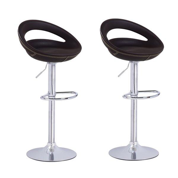 Tremendous Shop Adeco Brown Round Hydraulic Lift Adjustable Barstool Machost Co Dining Chair Design Ideas Machostcouk