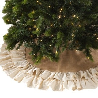 Shop Cotton And Jute Ruffled Tree Skirt On Sale Free
