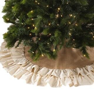 Cotton and Jute Ruffled Tree Skirt