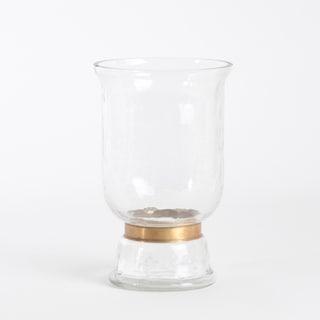 Gold Rimmed Hurricane Glass Vase