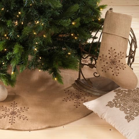 Beaded Jute Snowflake Stocking or Tree Skirt