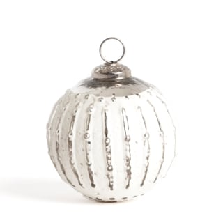 Glass Silver Ball Ornament (Set of 2)