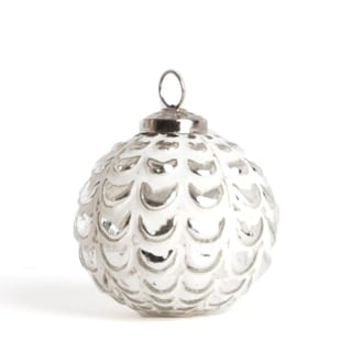 Silvertone Glass Ball Ornaments (Set of 4)