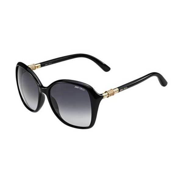 135395dc994 Shop Jimmy Choo Women s Tina F S D28HD Shiny Black Square Sunglasses ...