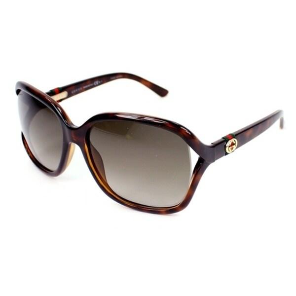 6257526896a48 Shop Gucci Women s  Gucci 3646 S DWJHA  Havana Rectangle Sunglasses ...