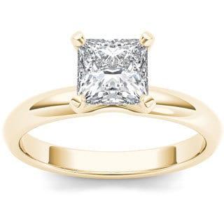 De Couer 14k Yellow Gold 1ct TDW Diamond Princess Cut Solitaire Engagement Ring