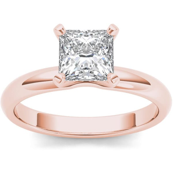 Gold 1ct tdw diamond princess cut solitaire engagement ring h i i2