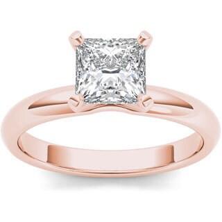 De Couer 14k Rose Gold 1ct TDW Diamond Princess-cut Solitaire Engagement Ring