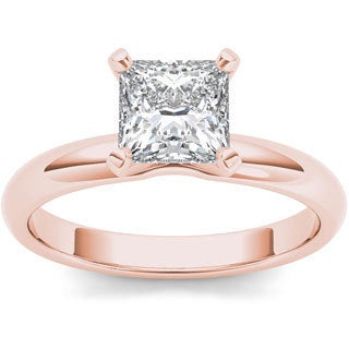 De Couer 14k Rose Gold 1ct TDW Diamond Princess-cut Solitaire Engagement Ring