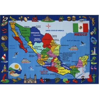 Map of Mexico Multicolored Accent Rug - 8' x 11'