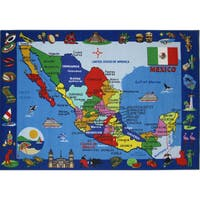 Map of Mexico Multicolored Accent Rug