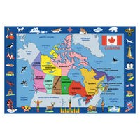 Map of Canada Multicolored Accent Rug - 4'4 x 6'3