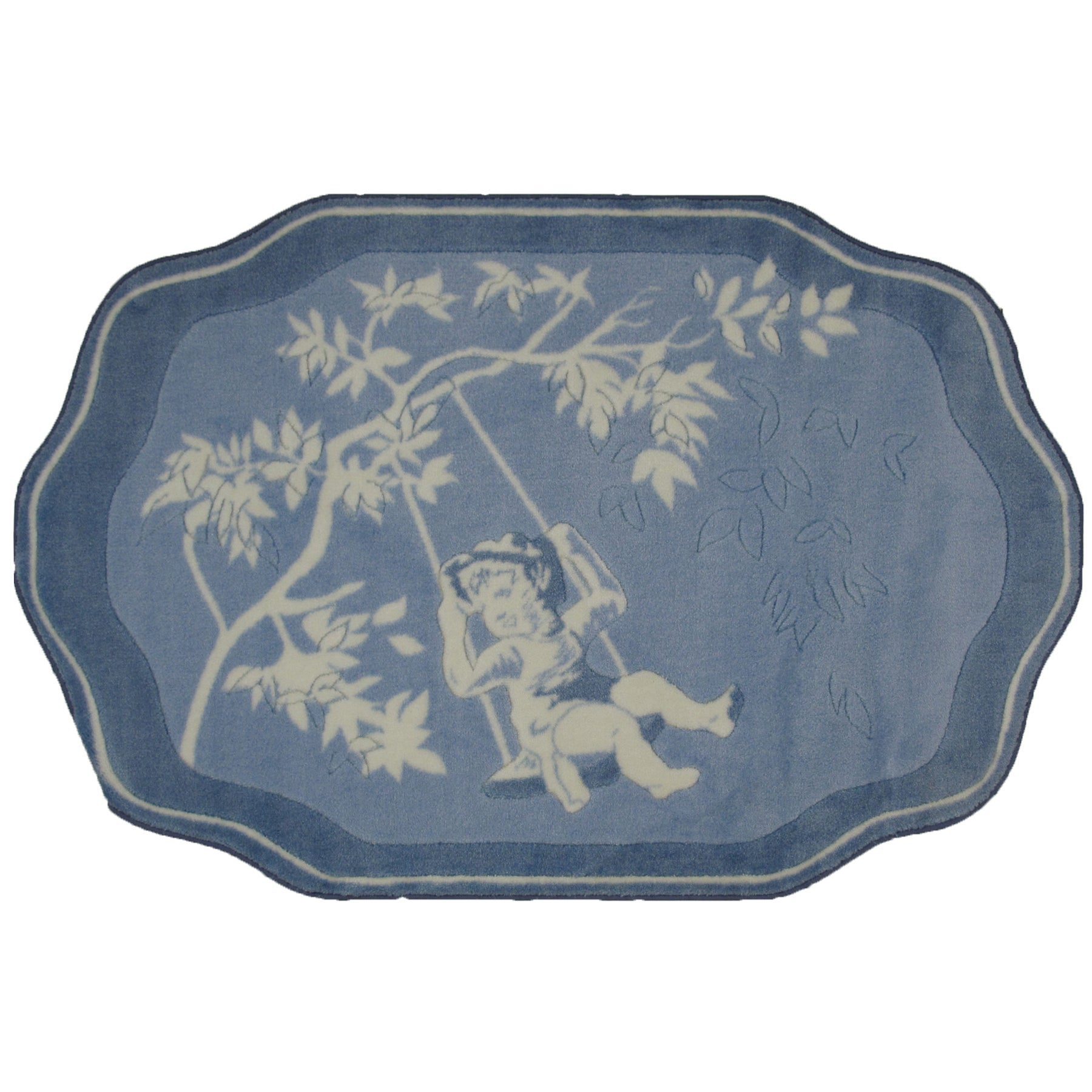 Toile Blue White Accent Rug 3