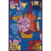 "Retro Multicolored Accent Rug - 3'3"" x 4'8"""