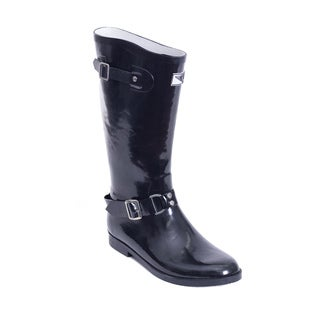 Women's Tall Black Rider-style Rain Boots