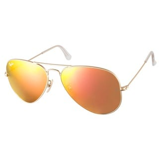 Ray Ban '3025 Aviator RB 3025' Matte Gold/ Orange Flash Sunglasses