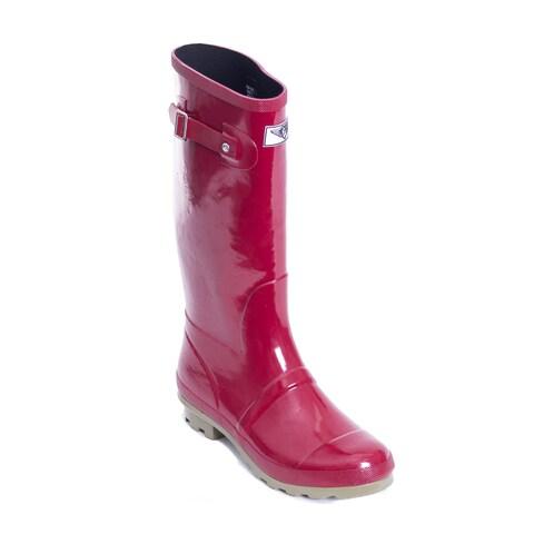 Women's Red/ Green Striped Tall Rain Boots