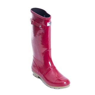 Women's Red/ Green Striped Tall Rain Boots