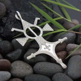 White Brass 'Four Winds Tuareg Cross' Pendant Necklace