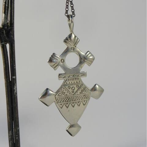 Handmade White Brass Amazigh Tuareg Cross Necklace (Indonesia)