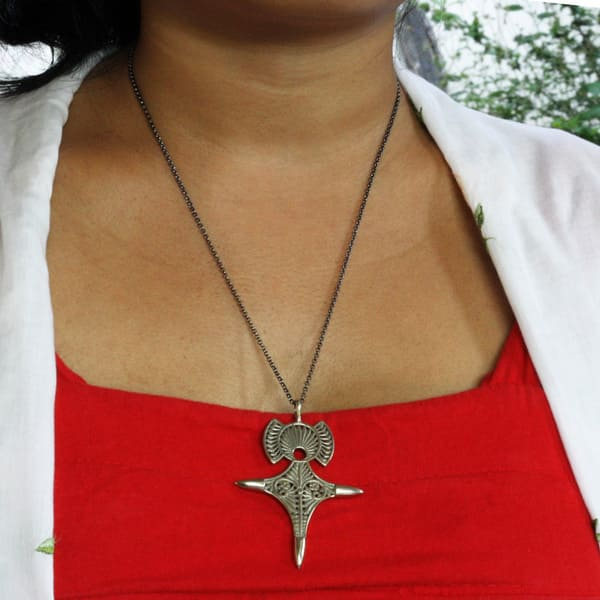 XL Berber Tuareg Silver Hand Engraved CrossCompass Necklace and Earring Set
