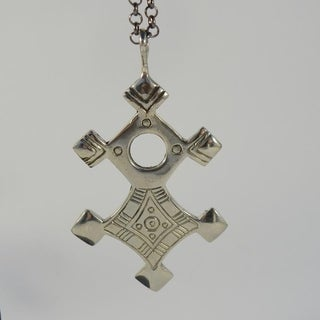 Handmade Safe Journey White Brass Tuareg Cross Pendant Necklace (Indonesia)